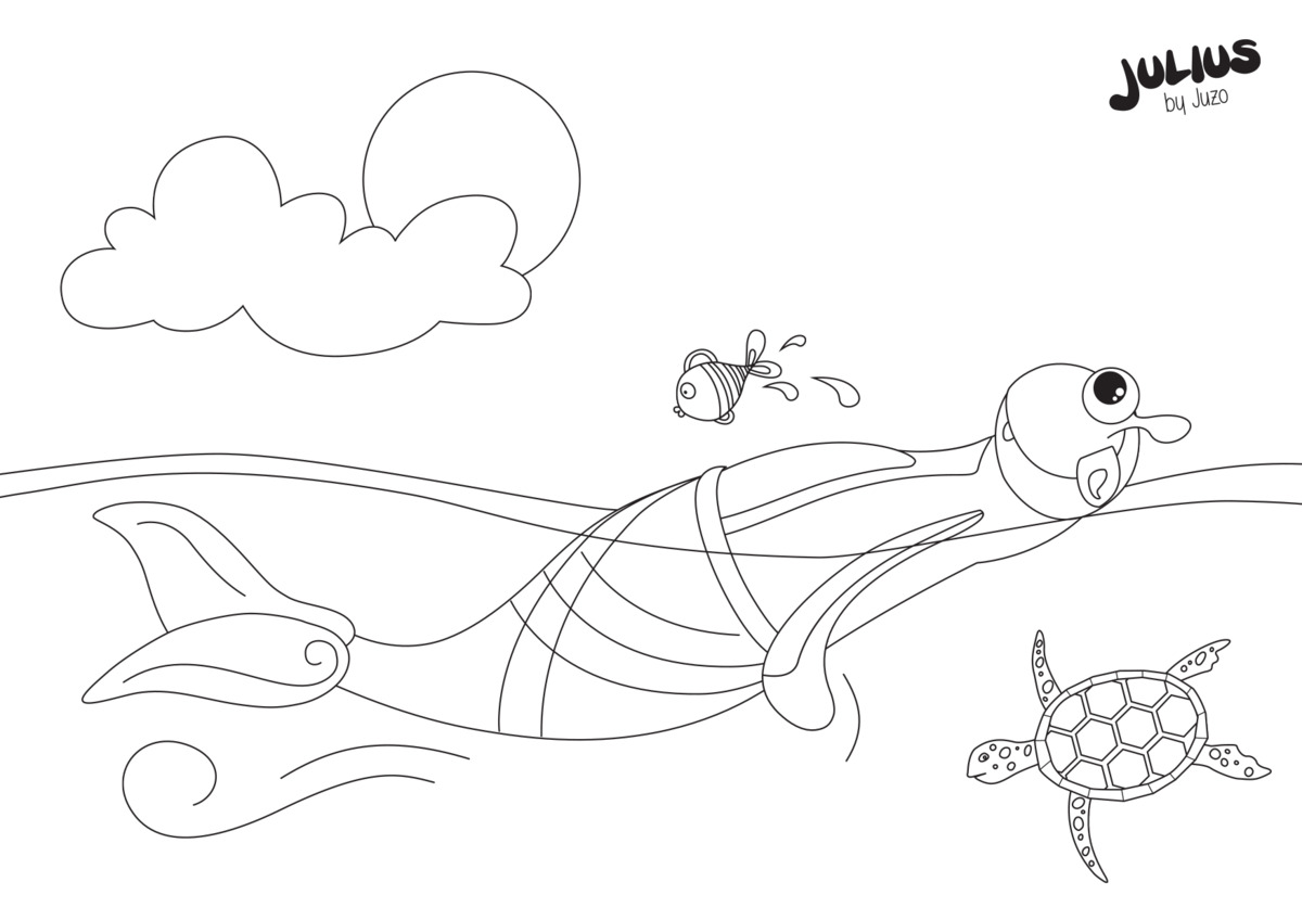 Julius swimming - colouring pages