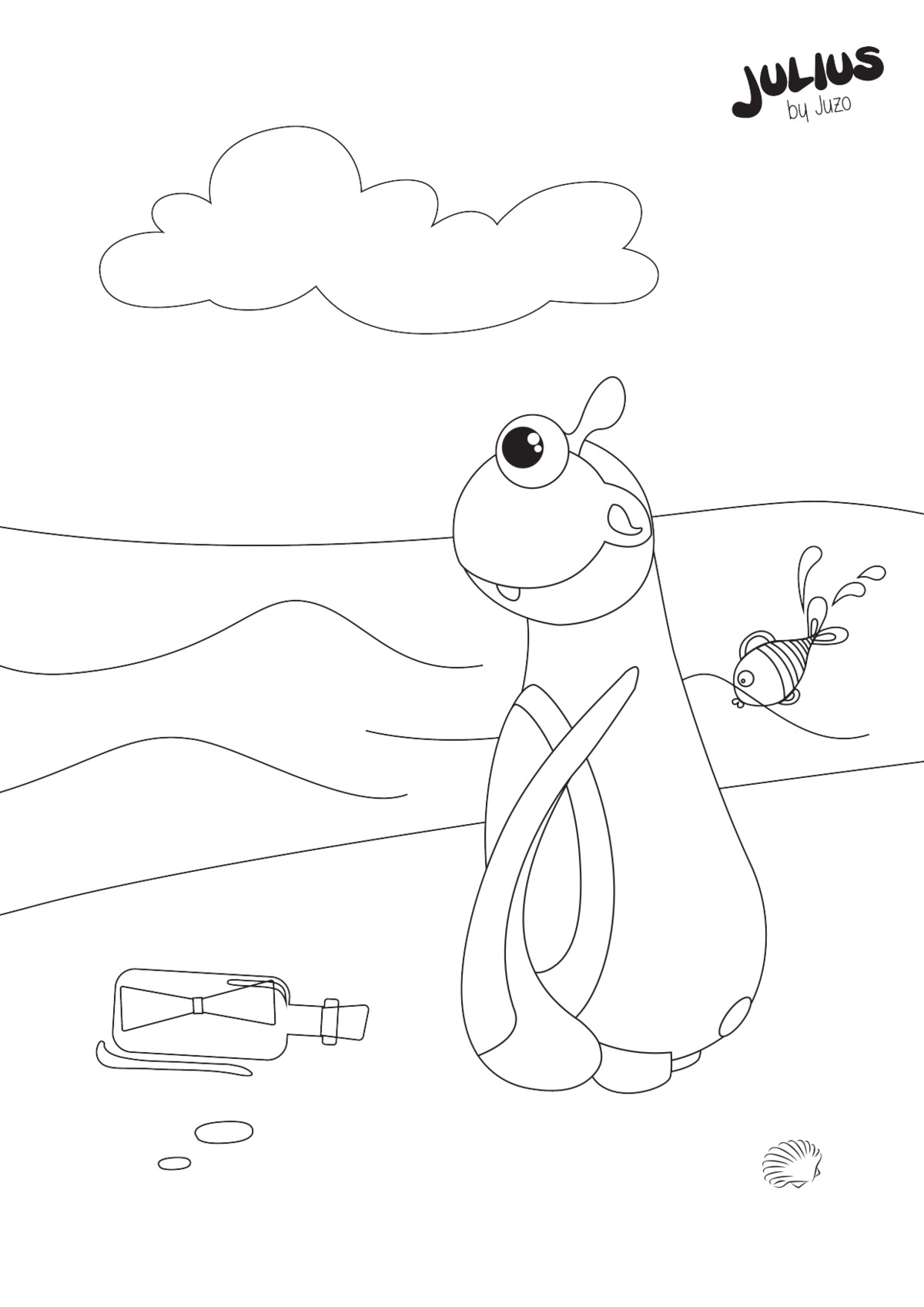 Julius message in a bottle - colouring pages