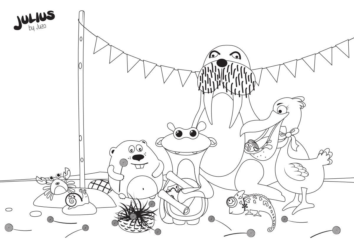 Desenho para colorir, Julius e os seus amigos