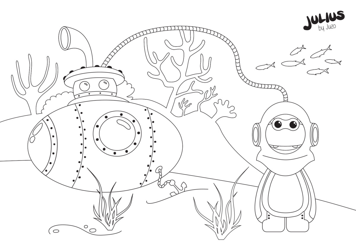 Julius diving - colouring pages